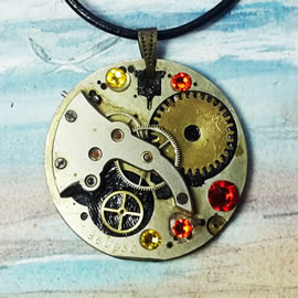 b4fz-049 Steampunk Pendant Klimt style mecanism, gears, yellow+orange & red Swarovski crys