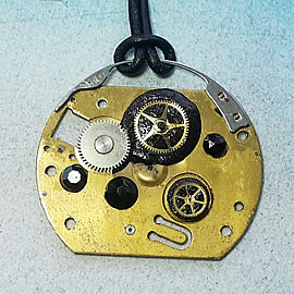 B4fz0-056 Steampunk Pendant piece & gears of clock and watches+black Swarovski crystal cab