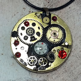 b4fz5-017 reversible Steampunk Pendant compass, gears,red & blue Swarovski crystals