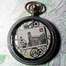 b4h--040 Unisex steampunk pendant  -Quiberon Church  , old pocket  watchcase