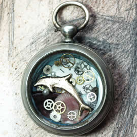 40hU-039 Steampunk Pendant handmade bronze dolfin, gears,dial,shells and resin