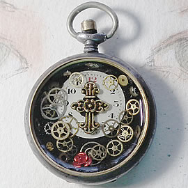 b4hC-002 Steampunk pocket-watchcase pendant gears, dial in resin