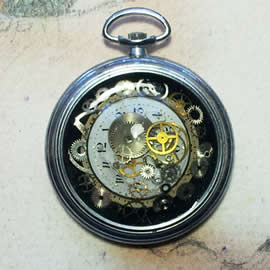 b4hzc-052 Steampunk pocket-watchcase pendant gears, dial in resin