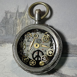 b4hzs-046 Steampunk Pendant watchcase, dial,  make love peace sign, cogs+resin