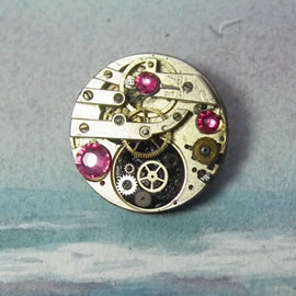 b5fj-001 Steampunk Klimt brooch, 3 in 1(pendant-necklace )28mm, pink crystals