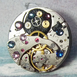 b5fj-010 Steampunk Klimt brooch, 3 in 1(pendant-necklace too) pink & blue swarovski