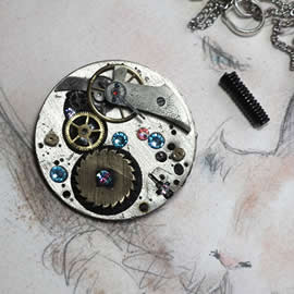 b5fj-003 Steampunk Klimt brooch, 3 jewels in 1(pendant-necklace ) blue swarovski