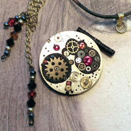 b5fj1-005 Steampunk G.Klimt brooch, red swarovski  (3 in 1 +pendant-necklace too)