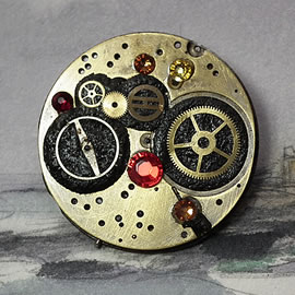 b5fj1-006 Steampunk Klimt brooch or 3 jewels in 1(pendant-necklace ) red swarovski