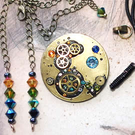 b5fj1-007 Steampunk Klimt brooch, 3 jewels in 1(pendant-necklace )yellow,green,blue swarov