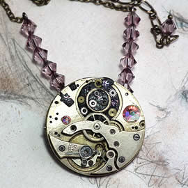 b5fj-008 Steampunk Klimt brooch, 3 jewels in 1(pendant-necklace )rainbow and lilac swarovs
