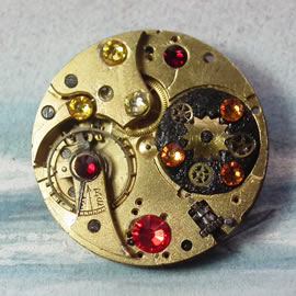 b5fj-012 Steampunk Klimt brooch, 3 in 1(pendant-necklace )swarovski red,yellow,oranges,