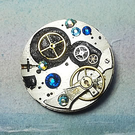 b5fj-012 Steampunk Klimt brooch, 3 jewels in 1(pendant-necklace ) ,blue swarovs