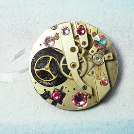 b5fj-013 Steampunk Klimt brooch, 3 in 1(pendant-necklace) pink swarovski