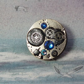 b5fj1-014 Steampunk Klimt brooch 3 in 1(pendant-necklace )swarovski blue,