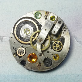 b5fj-015 Steampunk Klimt brooch, 3 jewels in 1(pend.necklace)orange,yellow & green swarovs
