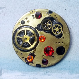 b5fj1-018 Steampunk Klimt brooch, 3 jewels in 1(pend.necklace) orange/red swarovski cabs &