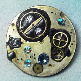 b5fj1-020 Steampunk Klimt brooch, 3 in 1(pendant-necklace )swarovski blue,