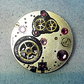 b5fj1-022 Steampunk Klimt brooch, 3 in 1(pendant-necklace) pink swarovski