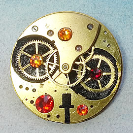 b5fj-025 Steampunk Klimt brooch, 3 jewels in 1(pendant-necklace) red swarovski cabs & bea