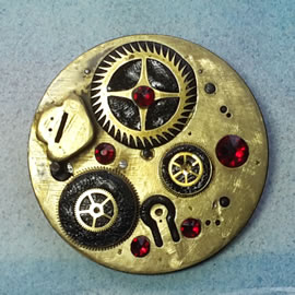 b5fj1-023 Steampunk Klimt brooch or 3 jewels in 1(pendant-necklace ) red swarovski