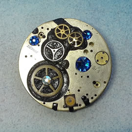 b5fj1-024 Steampunk Klimt brooch 3 in 1(pendant-necklace )swarovski blue,