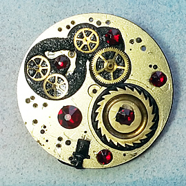b5fj1-026 Steampunk Klimt brooch, 3 jewels in 1(pendant-necklace) red swarovski cabs & bea