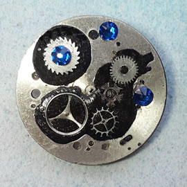 b5fj1-027 Steampunk Klimt brooch, 3 jewels in 1(pendant-necklace) blue swarovski cabs & be