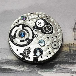 b5fj1-011 Steampunk Klimt brooch, 3 jewels in 1(pendant-necklace ) ,blue swarovs