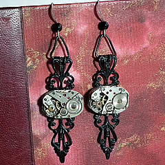 b6ff-001 Steampunk Earings  Black filigree &  watch mecanism