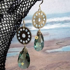 b6fe1-002 Steampunk Earrings, watch gears, vintage Swarovski  crystal pears