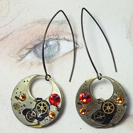 b6fk-010 Steampunk earrings, Gustav Kimt style, black resin, swarovskis cabs & gears