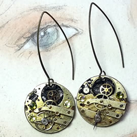 b6fk-011 steampunk Earrings Gustav Kimt style gears+swarovski cabs