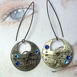 b6fk-015 Steampunk earrings, gustav Klimt style  gears,  resin & blue swarovski cabs