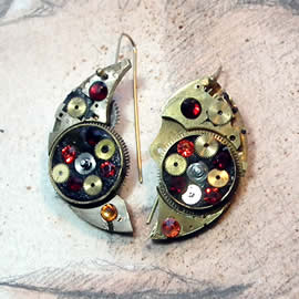 b6fk1-017 steampunk earrings, gustav Klimt style  gears,  resin & vintage red,orange swaro