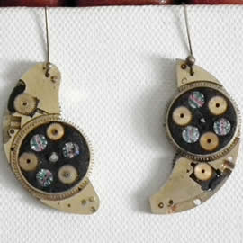 b6fk1-025 Steampunk earrings, gustav Klimt style  gears, resin & vintage rainbow swarovski