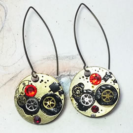 b6fk-027 Steampunk earrings, Gustav Kimt style, black resin, swarovskis cabs & gears