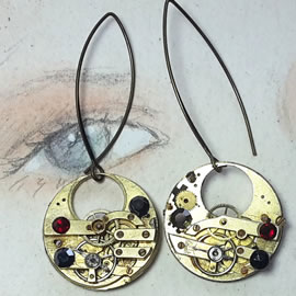 b6fk-032 steampunk earrings, gustav Klimt style gears, resin & swarovskic cabs