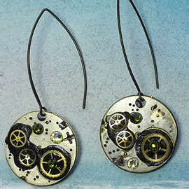 b6fk-044 Steampunk earrings, Gustav Kimt style, black resin, green swarovskis cabs & gears
