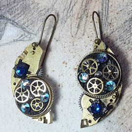 b6fk1-022 Steampunk earrings, gustav Klimt style  gears, resin & blue swarovski