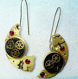 b6fk1-042 Steampunk earrings, gustav Klimt style  gears, resin &   red swarovski