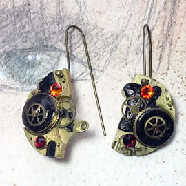 b6fk2-040 Steampunk earrings, Gustav Kimt style, black resin, red swarovskis cabs & gears
