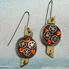 b6fk5-004 steampunk earrings, gustav Klimt style  gears,  resin & vintage red-orange swaro
