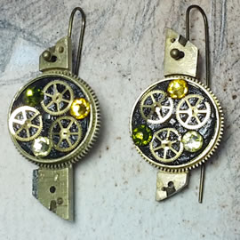 b6fk5-034 steampunk earrings, gustav Klimt style  gears,  resin & vintage green swaro