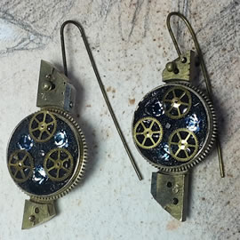 b6fk5-035 steampunk earrings, gustav Klimt style  gears,  resin & vintage blue swaro