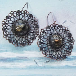 b6fv-023 Steampunk Earings  copper color filigree, resin and  gears