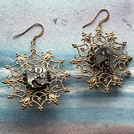b6fv-031 Steampunk Earrings  gilded filigree, meanismm, resin and  gears