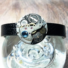 b7skp-006 Steampunk/Art-deco bracelet,black strap, cogs ,resin, blue swarovski crystals
