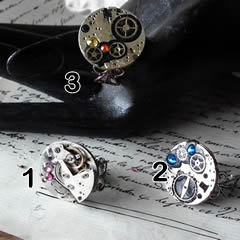 b9fkr009 Ajustable round Klimt Style steampunk  rings with flat swarovski cristal cabs