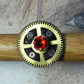 b9fx-039 Ajustable Steampunk ring, black fiigree, gear  and red swwarovski  crystal